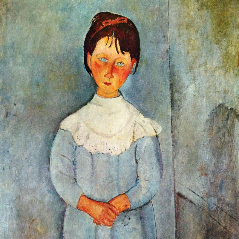 """Амедео Модильяни """"Девочка в голубом платье"""" (фрагмент) 1918г."""